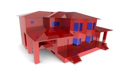 Härligt rött hus med blåa fönster på en vit bakgrund Arkivbilder