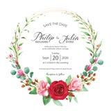 Härligt rött och rosa blom-, kort för blommabröllopinbjudan på vit bakgrund Vektor vattenfärg Steg magnolian stock illustrationer
