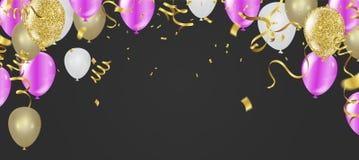 Härligt realistiskt kort för hälsning för vektor för lycklig födelsedag för partiballonger Du inviteras till ett parti royaltyfri illustrationer