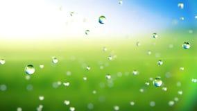 Härligt regn tappar att falla i ultrarapid, grön bakgrund, HD 1080 lager videofilmer