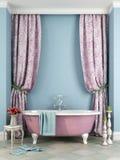 Härligt rosa färgbad mot en blå bakgrund vektor illustrationer