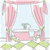 Härligt rosa färgbad mot en blå bakgrund stock illustrationer