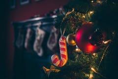 Härligt rum för nytt år med den dekorerade julgranen Royaltyfria Bilder