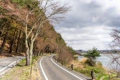 Härligt scenary av den Kawaguchiko lakesiden på den Momiju tunnelen Arkivbild