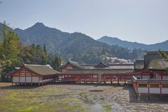 Härligt sceniskt av den Itsukushima relikskrin Royaltyfri Bild