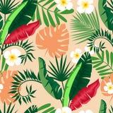 härligt seamless för bakgrund planterar tropiskt stock illustrationer