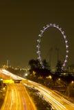Härligt Singapore öga på natten Arkivbilder