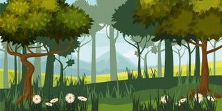 Härligt skoglandskap, träd, kontur, tecknad filmstil, vektor, illustration som isoleras royaltyfri illustrationer