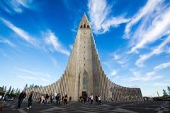 Härligt skott av Hallgrimskirkja i ReykjavÃk royaltyfri fotografi