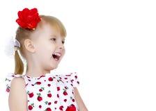 Härligt skratta för liten flicka Arkivbilder