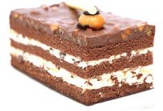 Härligt smakligt chokladtårtaslut som isoleras upp fotografering för bildbyråer