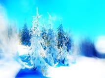 Härligt snöig landskap och suddighetseffekt effekt för 50mm bakgrundsblur aktiverar sidan för nattnikkordeltagaren Arkivbilder