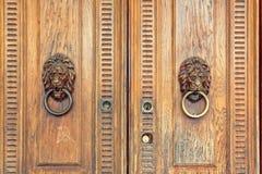 Härligt snidit dörrhandtag i form av ett lejon arkivbild