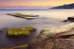 Härligt solnedgånglandskap i Krim Black Sea Royaltyfri Bild