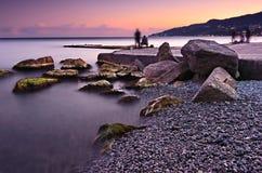 Härligt solnedgånglandskap i Krim Black Sea Royaltyfria Bilder