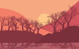 Härligt soluppgång- eller solnedgånglandskap royaltyfri illustrationer