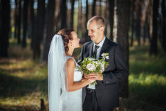Härligt sommarbröllop går på naturen Arkivfoton