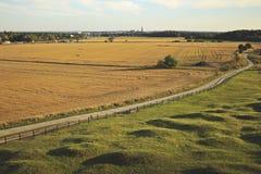 Härligt specifikt fotografi för sommarsäsong Sommarfält och väg/pathwalk Foto som visar ett centrum i den avlägsna horisonten Upp Fotografering för Bildbyråer