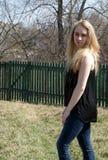 härligt ståendekvinnabarn Fotografering för Bildbyråer
