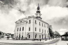 Härligt stadshus i den huvudsakliga fyrkanten, Kezmarok, Slovakien, colorles Arkivbild