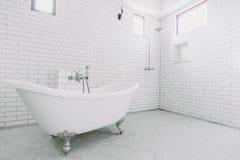 Härligt stort lyxigt tappningbadrum Fotografering för Bildbyråer