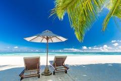 Härligt strandbaner, två solstolar och paraply på tropiskt strandlandskap Sommarsemester och feriebegrepp arkivbilder