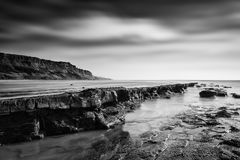 Härligt svartvitt landskap av den steniga kusten royaltyfri fotografi