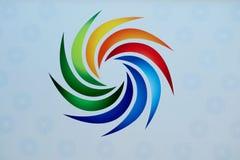 Härligt tecken av olika ljusa färger på en vit bakgrund royaltyfria bilder