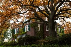 Härligt tegelstenhus i Hamburg, Tyskland Royaltyfria Foton
