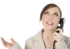 härligt telefonkvinnabarn Arkivfoton