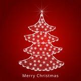 Härligt träd X-mas för berömmar för glad jul stock illustrationer