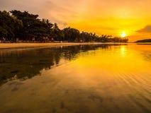 Härligt tropiskt strandhav och hav med kokosnötpalmträdet på Royaltyfria Foton