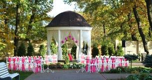 Härligt utomhus- ställe för bröllopceremoni stock video