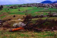 Härligt vårstillhetlandskap av den gamla Zheravna byn, Bulgarien Royaltyfria Bilder