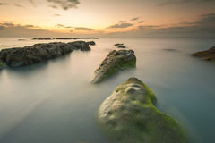 Härligt vaggar bildande med grön mossa under solnedgång Royaltyfri Fotografi