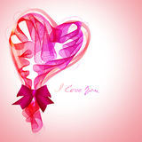 Härligt valentin bakgrund med abstrakt rosa färg och rött hör Royaltyfria Foton