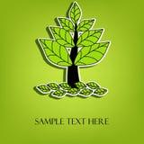 Härligt vektorträd med sidor Arkivbild