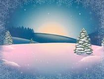 Härligt vinterlandskap för nytt år med snö-täckte träd och snöflingor arkivfoto