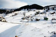 Härligt vinterlandskap i rumänska Carpathian berg Royaltyfri Fotografi