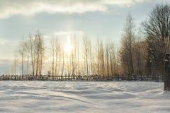 Härligt vinterlandskap på solnedgången arkivbild