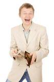 Härligt visar en ung man att han har i plånboken en en docka Royaltyfria Bilder