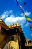 Härma templet, Nepal med blå en Julian sommarhimmel Royaltyfri Fotografi