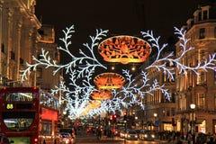 Härskande gata på jul, London Arkivbilder
