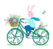Häschen auf Fahrrad mit Blumen Stockbild