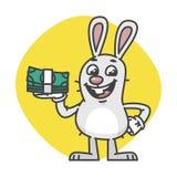 Häschen, das Bargeld lacht und hält stock abbildung