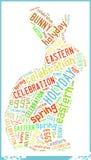 Häschen in der Ostfeiertags-Feier-Wort-Wolke Stockfotos