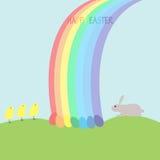 Häschen, Hühner, Eier und Regenbogen Lizenzfreie Stockbilder