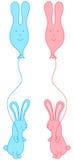 Häschen mit Ballonen Stockfoto