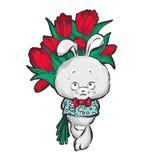 Häschen mit Blumenstrauß von Blumen lizenzfreie abbildung