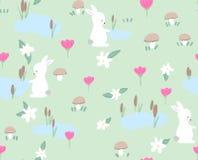 Häschen mit Frühling blüht nahtloses Muster auf grünem Hintergrund Netter kindlicher Artfeiertagshintergrund Design für Stockfoto